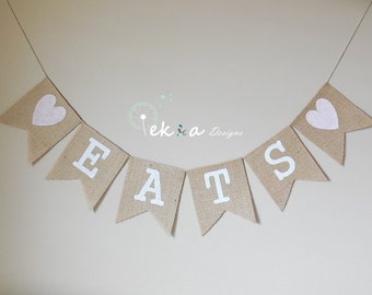 EATS burlap banner / wedding burlap banner / wedding bunting / wedding garland / reception banner - hearts