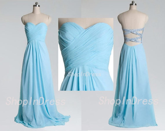Tiffany blue prom dress sweetheart prom dress backless for Wedding dresses with tiffany blue