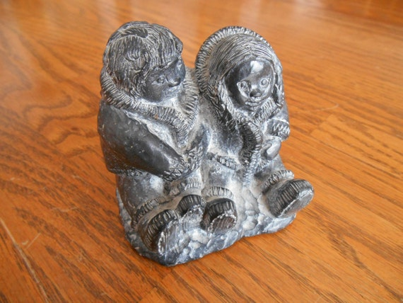 A wolf original sculpture in soap stone made by wimseybooks