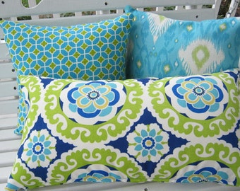 Blue Lime Green Pillow Cover Outdoor Ikat Suzani Fabric Porch Patio Home Decor 20 x 20 Euro Navy Turquiose