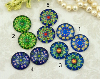 12mm,16mm,20mm Handmade photo glass cabochon cabs Mix Vintage flower Blue Green 12G028