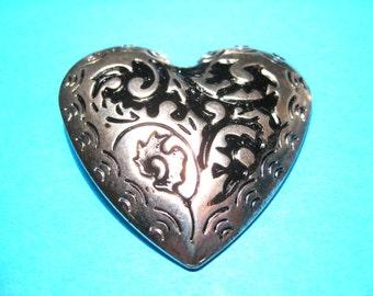 4pcs Large Antique Silver Heart Charms Pendant, 49mm