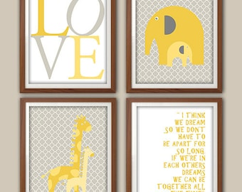 Nursery Art Print - Yellow And Gray - Carousel Designs Nursery - Elephant Nursery Art - Giraffe Nursery Decor -  Set Of Four Prints