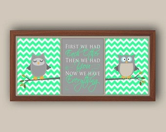 Nursery Art - Green And Gray Nursery Art - Owl Nursery Decor - Baby Girl Nursery Art Print - Chevron Nursery Decor - Any Color - Set Of 3