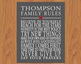 Personalized Family Rules Wall Art Sign Household Rules Charcoal Grey Red Family Room Decor Art Print Typography Modern Art 11x14 (17-4)