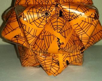 Orange Halloween Kusudama Ball with Spiderwebs