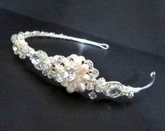 Bridal headband, Wedding headband, Bridal headpiece, Pearl and crystal headpiece, Freshwater pearl