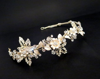 Bridal headband, Bridal headpiece, Light Gold headpiece, Wedding headband, Silver headband, Crystal headpiece, Hair accessory, Gold headband