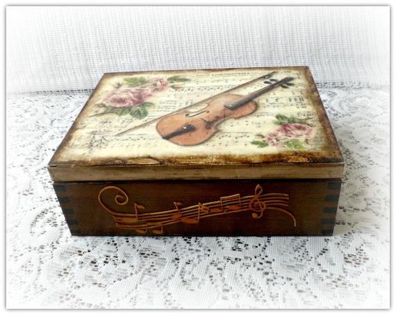 Wooden decoupage box jewelry box tea box vintage style