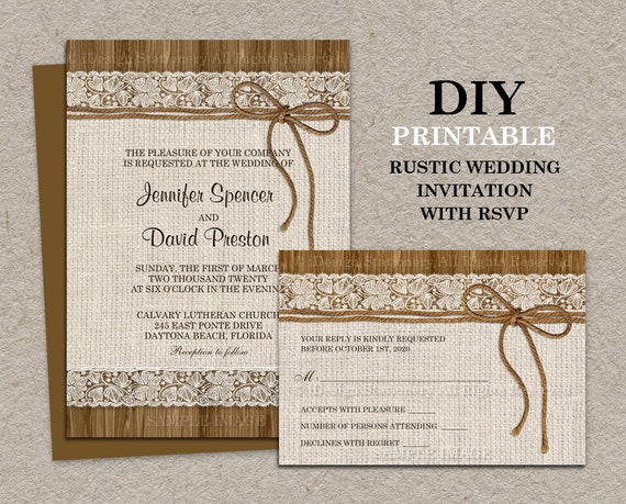Peaceful image within printable rustic wedding invitations