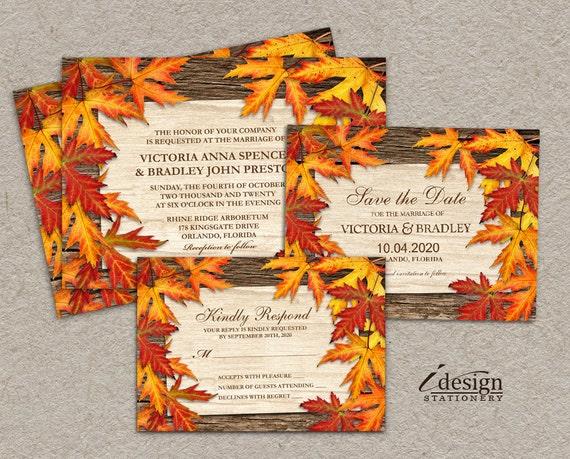 Diy Autumn Wedding Invitations: Items Similar To DIY Printable Fall Wedding Invitation Set