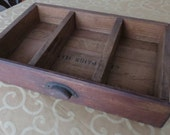 Vintage Desk Drawer Display Shelf Industrial Primitive Storage Organizer with Bin Pull