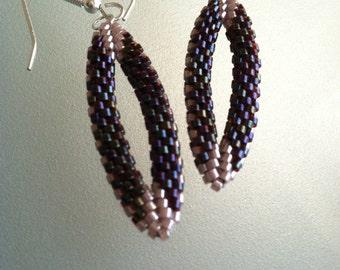 Deep red oval beaded earrings