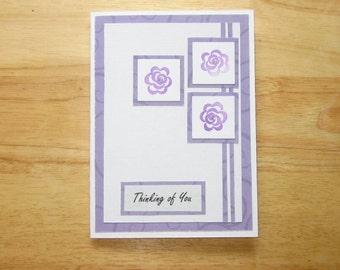 Thinking Of You Card - Encouragement Card - Appreciation Card - Homemade Card - Handmade Card - Greeting Card - Purple Flower Card