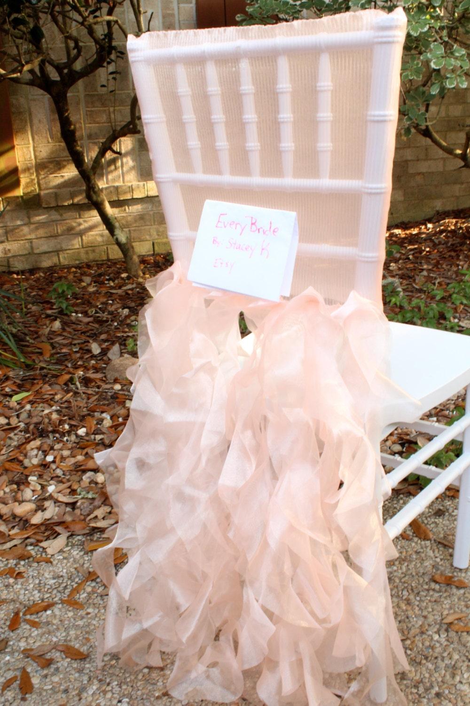 peach pink blush chiavari chair cover tutu wedding chair cover