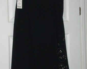 Vintage Black A Line Skirt - Miss Alliage Beaded Clothing -  Womens Size 14 Petite -UNWORN with Tag