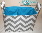 Custom Chevron, Storage Basket, Fabric Basket, Diaper Caddy, Organization, Girl, Boy, Gender Neutral