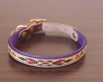 "Custom Leather Purple/Blue/Sand Dog Collar. Navajo 1/2"""