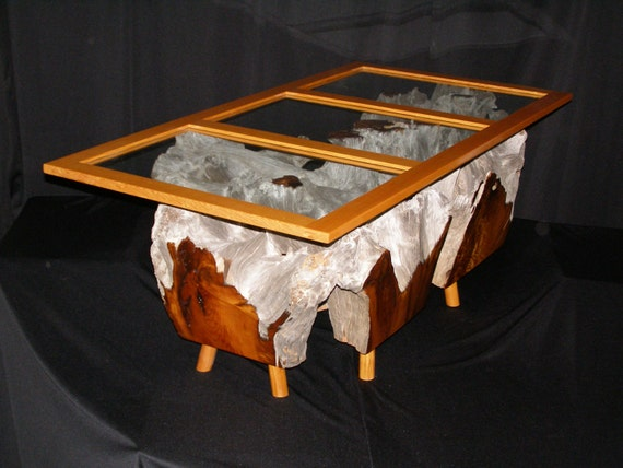 Items Similar To Driftwood Coffee Table With Glass Top On Etsy