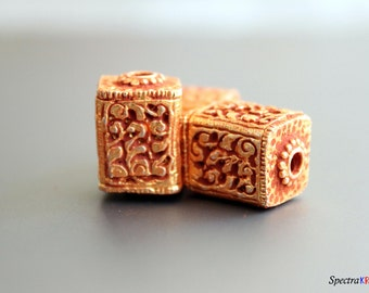 Handmade Tibetan bead with Gold Plating - Copper Bead with Gold Plating - Ornate Bead