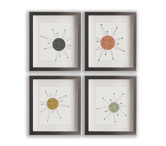 Franciscan starburst art prints mid century by nikoandlilyhome for Etsy dining room wall art