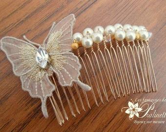 Peigne mariage papillon en organza et cristaux, accessoires coiffures, bijoux de mariées, peignes mariées - Bridal butterfly haircomb