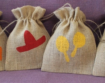 Rustic Burlap Fiesta favor bags. 5 x 7 burlap  bags. Sombrero,burro, cactus, maraca. Party, wedding, shower, favor bags.  Custom Fiesta Bags