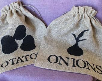 Burlap onion and potato storage bag set. Garden storage bags. Burlap Garden Bag Gift. Onion decor Custom Burlap Garden Bag. Large Burlap Bag