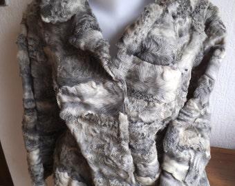short vintage real fur jacket size 42/44