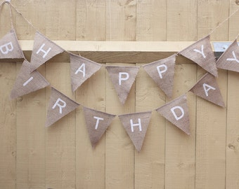 HAPPY BIRTHDAY bunting banner, neutral and white, birthday photo props