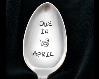 Stamped Spoon Personalized Baby Announcement Hand Stamped Teaspoon New Baby Pregnancy Announcement Due In