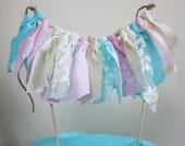 Shabby Chic Cake Topper, Rag Tie Cake Topper, 1st Birthday Cake, Wedding Cake Topper, Shabby chic Partry,
