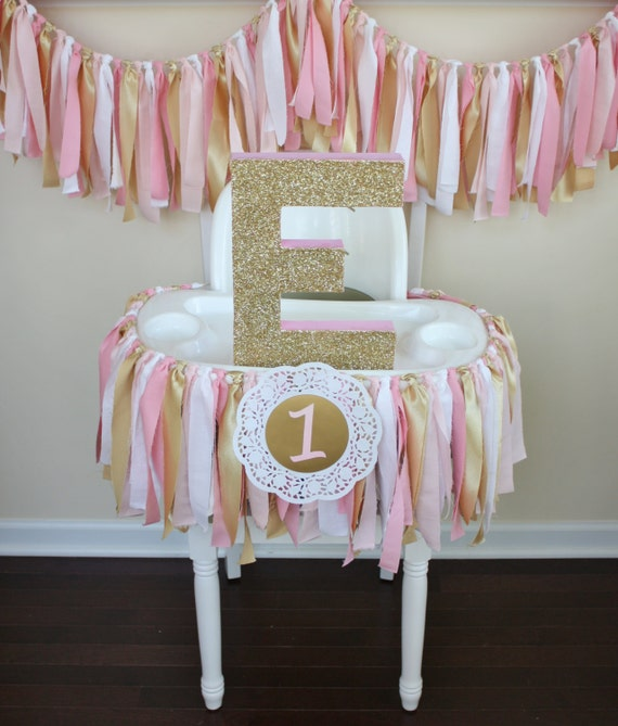 Pink and gold shabby chic rag tie garland highchair banner for Shabby chic garland lights