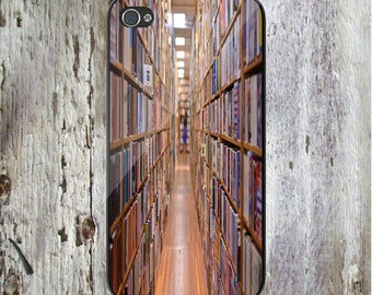 Bookcases Books Look Down Aisle of Books bookstore Library Phone Case  iPhone 6 iPhone SE iPhone 5 Samsung Galaxy iPhone7 iPhone 7