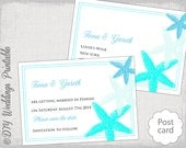 "Beach Save the date template ""Starfish"" Turquoise Mailbu blue & aqua postcard printable Destination wedding save the date templates download"