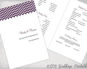 Wedding program template coral DIY printable order of ceremony