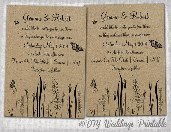 rustic wedding invitations template editable butterfly. Black Bedroom Furniture Sets. Home Design Ideas