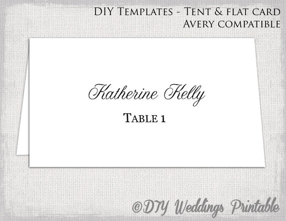 Place card template tent flat name card templates for Tent place card template