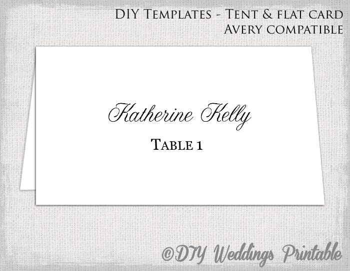 Place Card Template Tent  Flat Name Card Templates