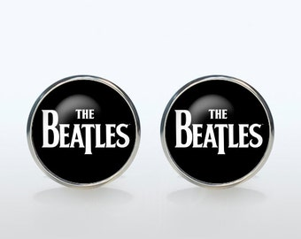 Beatles Cufflinks Silver plated The Beatles Cuff links Accessories for men and women jewelry black white