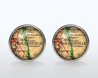 Jacksonville map Cufflinks Silver plated Jacksonville vintage map Cuff links men and women Accessories Antique black brown red green