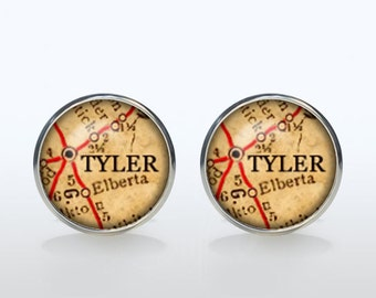 Tyler map Cufflinks Silver plated Tyler vintage map Cuff links men and women Accessories Antique black brown red