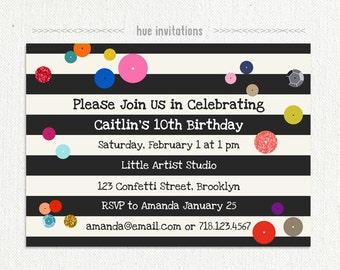 modern birthday invitation, 10th birthday party, sequins rainbow confetti black and white stripes, art party digital invitation 174