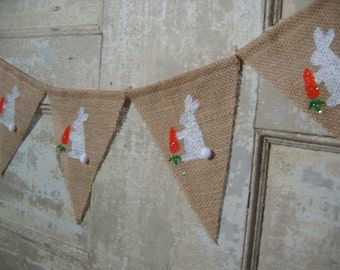 Easter Banner, Easter Decor, Easter Bunny Garland, Burlap Bunting, Rustic Easter, Photo Prop, Burlap Garland, Bunny Banner
