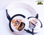 PIZZA CAT HEADPHONES meme music geek pizzacat breadcat micro pc mp3