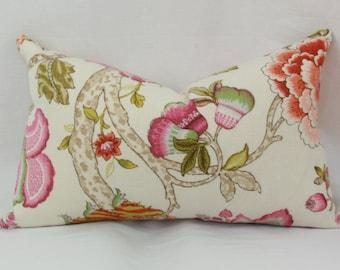 Pink & green floral decorative throw pillow cover 12x20 13x20 12x24 14x24 14x26 16x24 16x26 Lumbar pillow cover. P. Kaufmann malawi Hibiscus