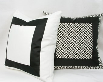"Black & white ribbon border decorative throw pillow cover. 18"" x 18"". 20"" x 20"". 22"" x 22"". 24"" x 24"". toss pillow."