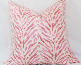 "Pink & cream decorative throw pillow cover. 20"" x 20"" toss pillow cover."
