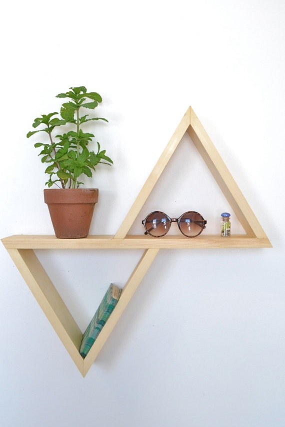 Unstained/ No Finish Geometric Shelf II by The807 on Etsy