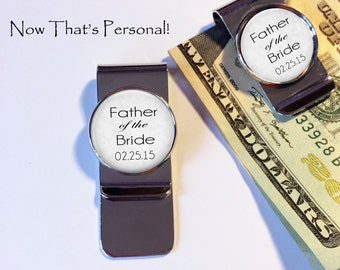 "Gift for Father of the Bride - MONEY CLIP - Custom Money Clip - ""Father of the Bride"" money clip - your wedding date - Father of the Bride"
